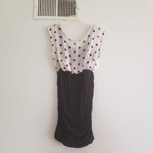 Lush Dresses - Lush black bodycon with off white polka dot M